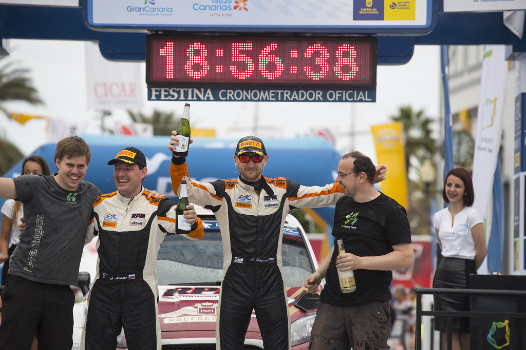 05 LUKYANUK Alexey (RUS), ARNAUTOV Alexey (RUS),  Ford Fiesta R5, Podium during the 2017 European Rally Championship ERC Rally Islas Canarias, El Corte Inglés,  from May 4 to 6, at Las Palmas, Spain - Photo Gregory Lenormand / DPPI