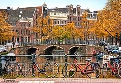 Bikes, Bridge and Dutch Canal Houses, Rokin Muntplein, Amsterdam