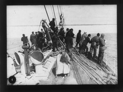 Crew on board the TERRA  NOVA  entering pack ice, looking forward 9 December
