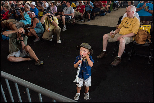 Harvey Fischer, 2, at his second Jazz Fest enjoying Khari Allen Lee and the New Creative Collective during day 7 on May 7, 2017. Photo by Ryan Hodgson-Rigsbee www.rhrphoto.com