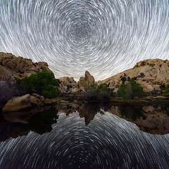 Desert Oasis ••••••••••••••••••••••••••••••••••••••••••••••••• Location: Joshua Tree National Park, CA ••••••••••••••••••••••••••••••••••••••••••••••••• I've caught some decent MW reflections in bodies of water but never startrails so I was excited to dig