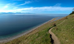 nice view of the Olympic Mountains from the bluff trail at Ebey's Landing