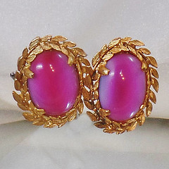 Vintage Judy Lee Earrings.  Faux Saphiret Art Glass Cabochon Earrings.  Gold Plated Pink Blue Judy Lee Earrings.