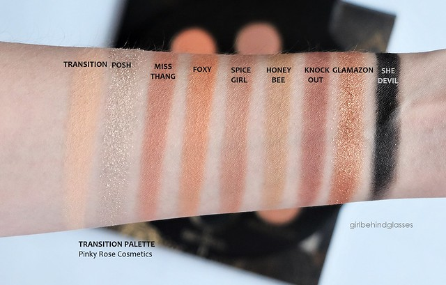 Pinky Rose Cosmetics Transition Palette swatches