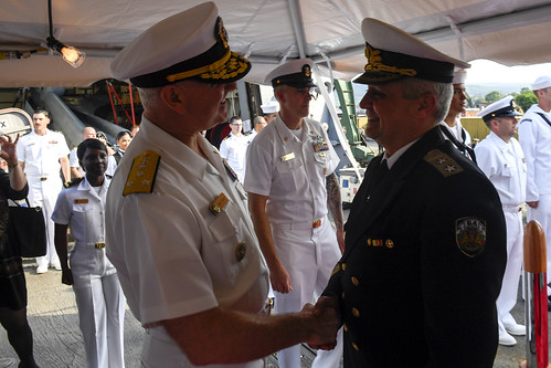 Tue, 05/16/2017 - 14:09 - 170516-N-AX546-307 VARNA, Bulgaria (May 16, 2017) - Vice Adm. Christopher W. Grady, commander, U.S. 6th Fleet, welcomes aboard Rear Adm. Mitko Petev, chief of Bulgarian Navy, during a reception aboard the Arleigh Burke-class guided-missile destroyer USS Oscar Austin (DDG 79), May 16, 2017. Oscar Austin is on a routine deployment supporting U.S. national security interests in Europe, and increasing theater security cooperation and forward naval presence in the U.S. 6th Fleet area of operations. (U.S. Navy Photo by Mass Communication Specialist 1st Class Sean Spratt / Released)