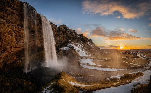 seljalandsfoss iceland islandia waterfall sunset panoramic landscape