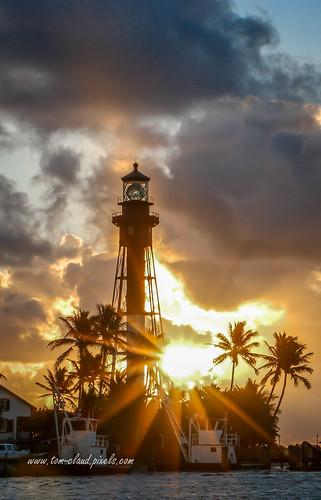 lighthouse hillsboroinlet inlet hillsboroinletlighthouse silhouette palms palmtrees trees clouds cloudysky sunrise morning nature outdoors outside hillsborobeach florida usa