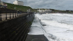 Tide assaulting North Bay  Promenade , Scarborough   April 2017