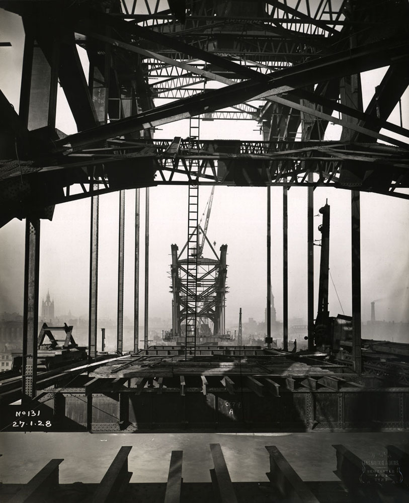 View along the Tyne Bridge from the Gateshead side