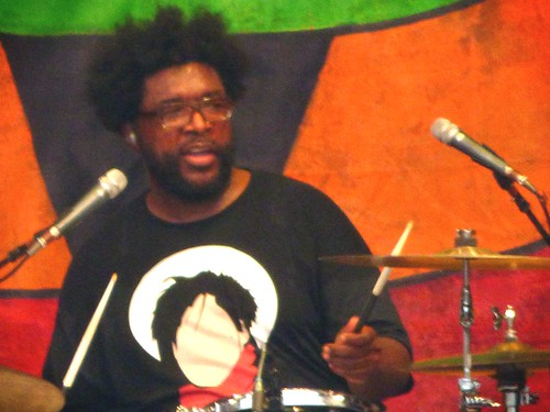 Questlove on Saturday, April 29, 2017; Day 2 of Jazz Fest. Photo by Olivia Greene.