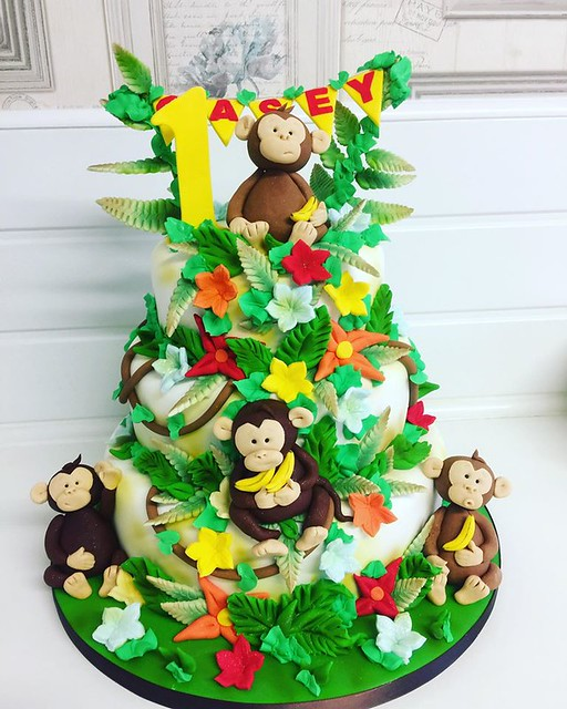 Cute Monkey Themed Cake by Carla's Cake Toppers