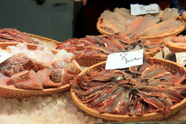 Fish on sale at the Girona food market