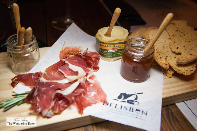 Jamon from 5J, warmed Portuguese soft sheep's milk cheese