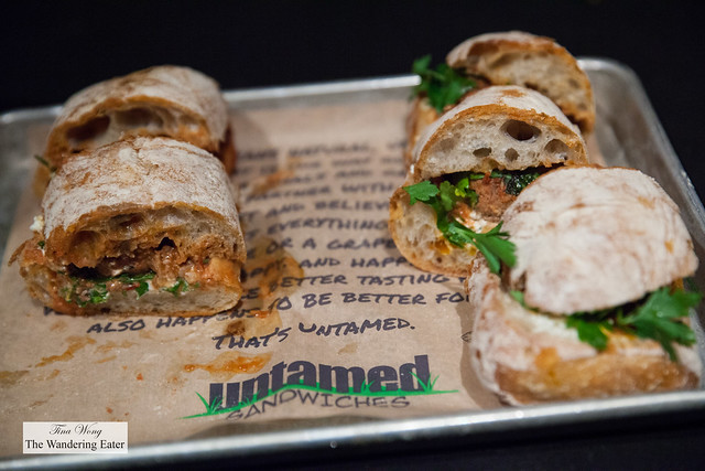 Bob Dominik (tomato braised beef meatballs, herbs, black garlic butter, whipped goat cheese) by Untamed Sandwiches