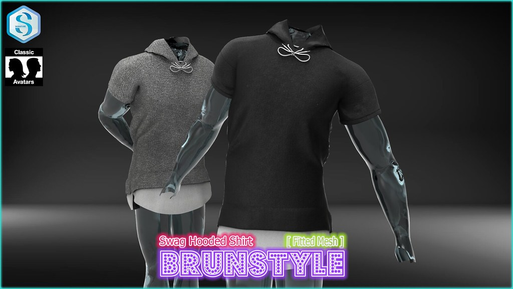 [BrunStyle] Swag Hooded Shirt (Fitted Mesh) - SecondLifeHub.com