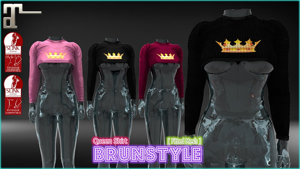 [BrunStyle] - Queen Shirt (Fitted Mesh) - SecondLifeHub.com