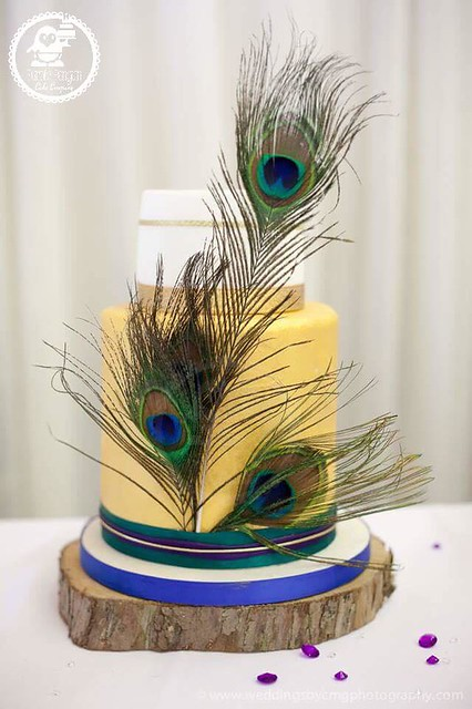 Peacock Themed Cake from Wedding Cakes by Purple Penguin Cake Co