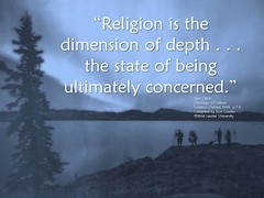 """Quotation: """"Religion is the dimension of depth . . . the state of being ultimately concerned."""""""