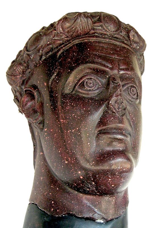 Porphyry bust of emperor of Rome Galerius, from his palace in Romuliana