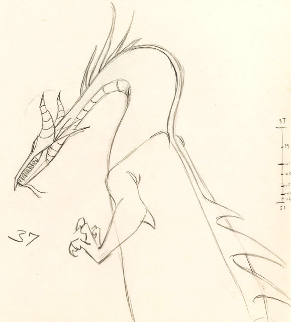 Maleficent as a dragon animation drawing from Sleeping Beauty (1959)