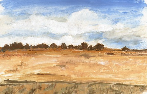 casein color sketch willamette field landscape paint