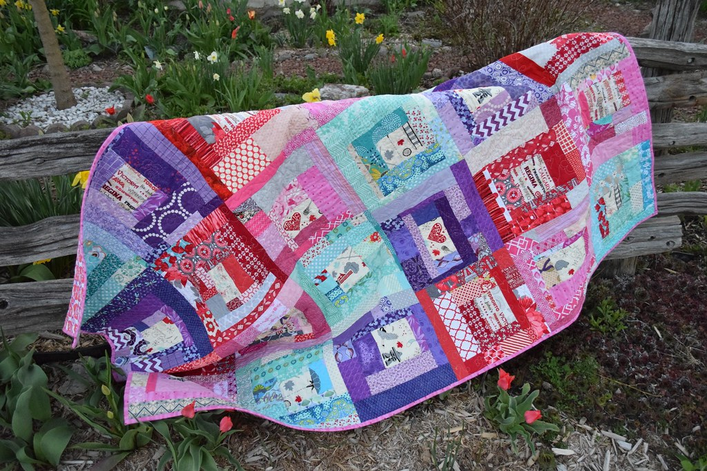 finished quilt draped