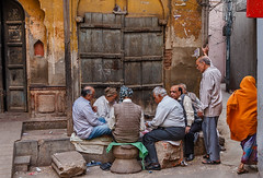 friendly game of cards in the backstreets of New Delhi