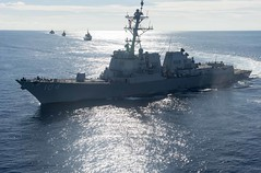The USS Sterett (DDG 104) moves into position ahead of RSS Intrepid (FFS 69), HTMS Naresuan (FFG 421) and USS Coronado (LCS 4) during a maneuvering exercise as part of a multilateral Cooperation Afloat Readiness and Training exercise between the U.S. Navy, Republic of Singapore Navy and Royal Thai Navy, May,11. (U.S. Navy/MCS3 Deven Leigh Ellis)