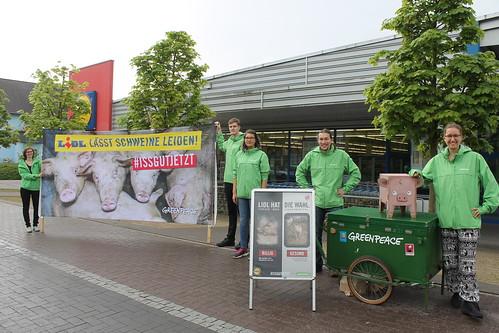 lidl lässt schwein leiden greenpeace oldenburg germany land billig fleisch tierwohl aktion wehdestrase donnerschwee