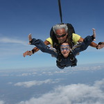 Tandem Skydiver Tamar And Her Instructor Cliff In Freefall
