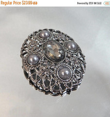 SALE Vintage Victorian Revival Brooch.  Gray Faux Pearls. Smoky Hematite Rhinestone. Marcasite.