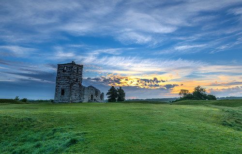 henge knowlton relic church sunrise cloud landscape