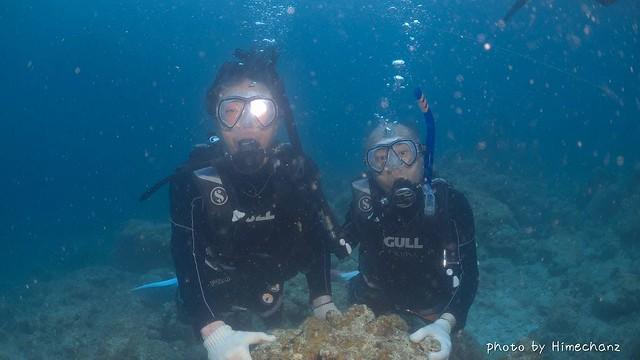 体験ダイビングチームのお二人、水中世界へようこそ♪