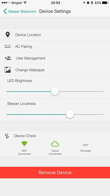 Ambi Climate Second Edition - iOS App - Device Settings