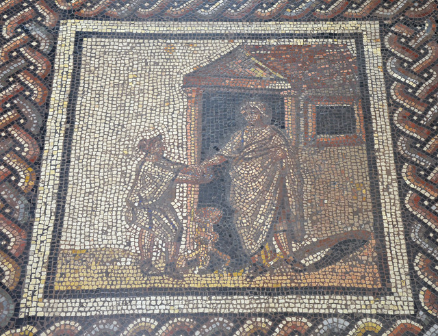 Mosaic depicting a rustic calendar, panel showing the Compitalia a festival celebrated once a year in honor of the Lares Compitales, household deities of the crossroads (January), from Saint-Romain-en-Gal, first quarter of 3rd century AD, Musée d'Archéolo