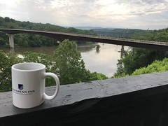 Daddy enjoys early morning coffee overlooking the Potomac and the Shepherdstown bridge