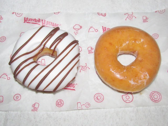 Krispy Kreme White Iced Chocolate Drizzle and Glazed Donuts
