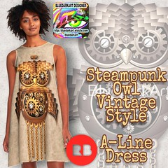 SOLD!    #Steampunk #Owl #Vintage #Style #ALine #Dress   #Design by #BluedarkArt     Many Thanks to the Buyer!:grinning:   #25%off ALL #apparel. That's right. All. Of. It. Use STUFFTOWEAR :collision:  https://bluedarkart.wordpress.com/2017/05/28/sold-stea