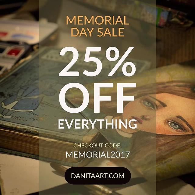I'm having a #sale for #memorialdayweekend 25% OFF EVERYTHING with coupon code MEMORIAL2017 #danita #danitaart #memorialday #art #paintings #artdolls #jewelry #handmade