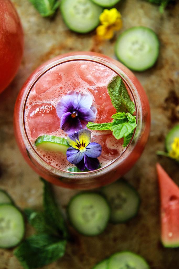 Watermelon Cucumber Gin Lemonade from HeatherChristo.com