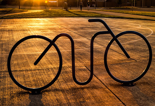 neighborhood silhouette sunset oregon orange park bike bikerack pavement suburban bryanjohnstonpark salem