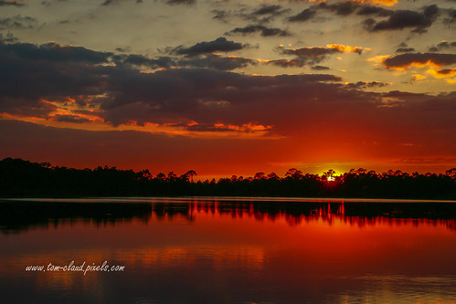 sun sunset lake pond water redwater sky redsky couds cloudy weather nature mothernature outdoors fortpierce florida usa landscape