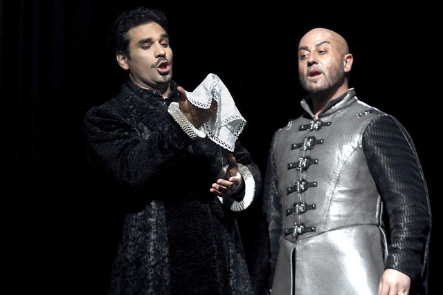 Frédéric Antoun as Cassio and Marco Vratogna as Iago in Otello, The Royal Opera © 2017 ROH. Photograph by Catherine Ashmore