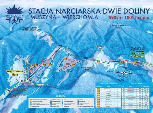 Dwie Doliny - Muszyna Wierchomla - mapa sjezdovek