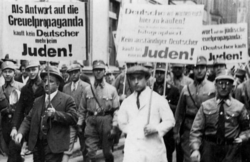 Anti-Jewish agitation on a German street