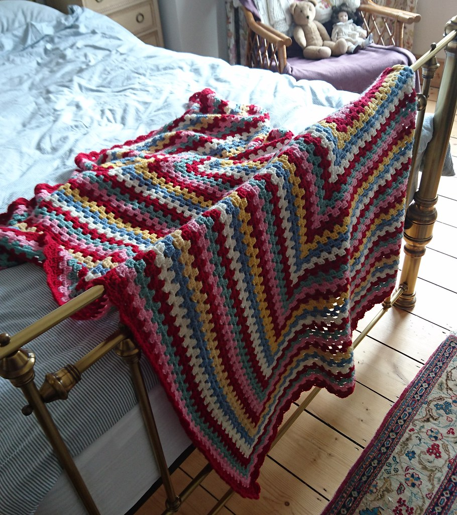 Striped crochet granny square blanket, Homestead Blanket