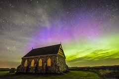 Church and Aurora by PhotoGizmo