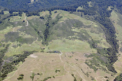 Aerial view of the San Andreas Fault, a sag pond, and a side-hill bench, Watsonville, Santa Cruz County, California
