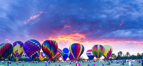 freedom balloon festival 2017 fuquay varina northcarolina glow sunset clouds panorama