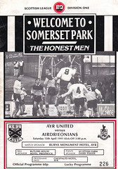 Ayr United vs Airdrie - 1991 - Cover Page